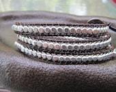 Sterling Silver Bead Brown Triple Leather Wrap Bracelet