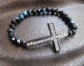 Crystal Sideways Cross Bracelet with Black AB Crystals