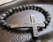 Silver Crystal Sideways Cross Bracelet with Labradorite