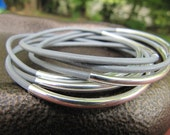 Cement Grey Leather Bangles with Silver - Set of 6