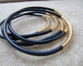 Navy Leather Bangles with Carved Gold Tubes - Extra Thick