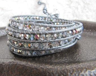 Crystal Beaded Leather Wrap Bracelet with Silver Leather - Silver Wrap Bracelet - Crystal Wrap Bracelet - Rainbow Wrap Bracelet