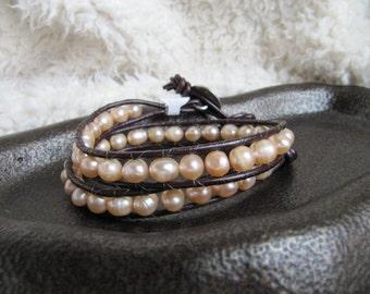 Peach Freshwater Pearl Double Beaded Leather Wrap Bracelet