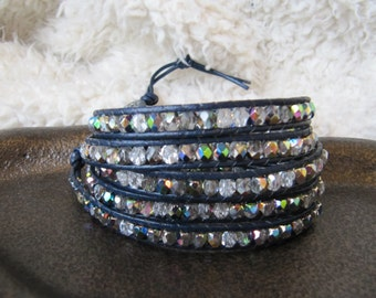 Crystal Beaded 5 x Wrap Bracelet with Navy Leather