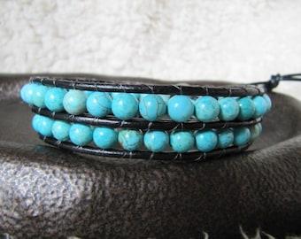 Turquoise Double Wrap Beaded Leather Wrap Bracelet