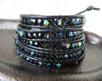 Black AB Crystal 5 X Beaded Leather Wrap Bracelet