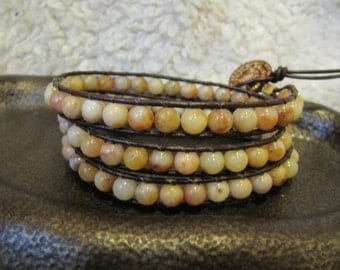Autumn Jasper Triple Wrap Beaded Leather Wrap Bracelet