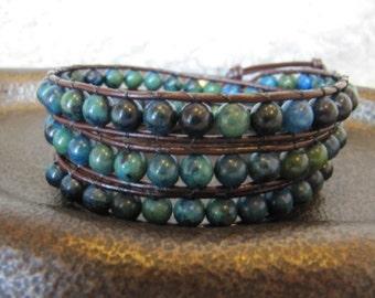 Triple Wrap Yellow Turquoise Gemstone Beaded Leather Wrap Bracelet