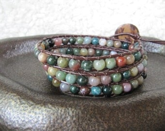 Triple Wrap Beaded Leather Wrap Bracelet with Fancy Jasper and Brown Leather