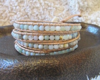 Natural Amazonite Beaded Leather Wrap Bracelet with Tan Leather