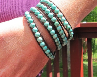 Turquoise Gemstone Beaded Leather Wrap Bracelet with Brown Leather