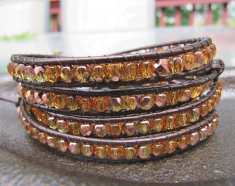 Crystal Beaded Leather Wrap Bracelet with Gold Copper and Metallic Brown Leather