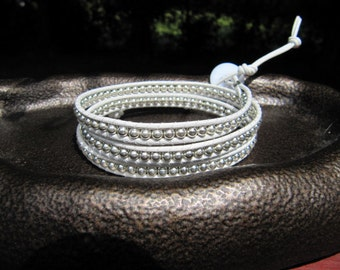 White Leather Wrap Bracelet with Sterling Silver Beads