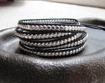 Wrap bracelet, 5x Wrap Silver Rounded Cube Beaded Leather Black Wrap Bracelet, silver and black bracelet, wrap around bracelet