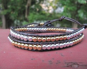 Silver and Gold Double Wrap Beaded Brown Leather Wrap Bracelet