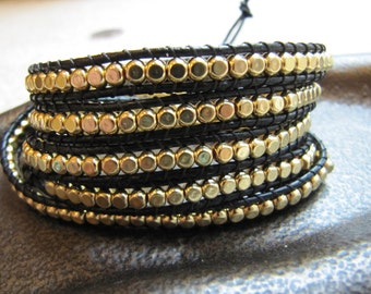 5x Black Beaded Leather Wrap Bracelet with Gold Cube Beads