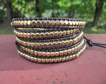 5x Wrap Gold Rounded Cube Beaded Leather Brown Wrap Bracelet - Leather Wrap - Wrapped Bracelet - Brown Wrap Bracelet - Boho Bracelet