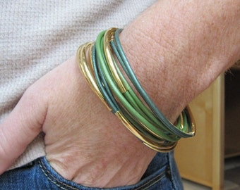 Metallic Moss Green Leather Bangles - Set of 6
