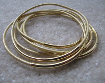 Metallic Gold Leather Bangles - Set of 6