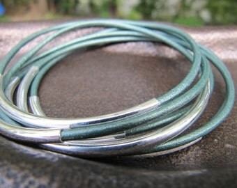 Metallic Green Leather Bangles with Silver - Set of 6