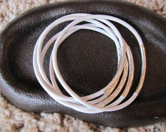 White Leather Bangles with Carved Silver Tubes - Extra Thick