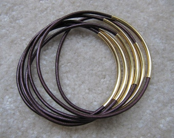 Metallic Maroon Leather Bangles with Gold - Set of 6