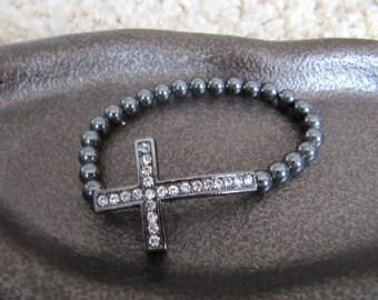 Gunmetal Crystal Side Cross Bracelet with Hematite