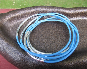 Light Blue Leather Bangle with Silver - Set of 6