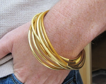Metallic Light Copper Leather Bangles with Gold - Set of 6