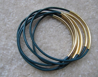 Emerald Green Leather Bangles with Gold - Set of 6