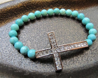 Sideway Cross Silver Crystal Bracelet with Turquoise