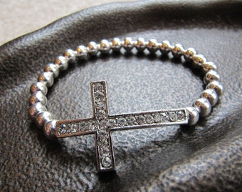 Crystal Sideways Cross Bracelet with Silver Beads - cross bracelet - faith bracelet - communion gift - rhinestone cross bracelet