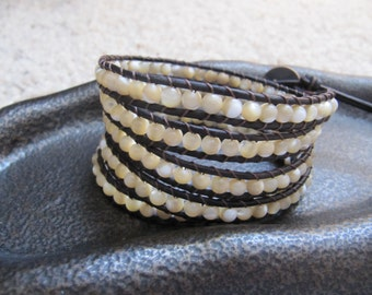 5 x Mother of Pearl Leather Wrap Bracelet with Natural Dark Brown Leather