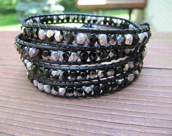 Black and Silver Crystal Beaded Leather Wrap Bracelet with Black Leather