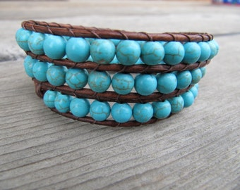 Brown 3x Turquoise Triple Wrap Beaded Leather Wrap Bracelet