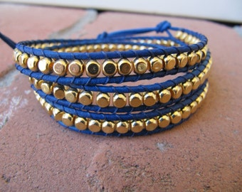 Gold Rounded Cube Bead Blue Triple Leather Wrap Bracelet