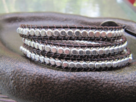 Sterling Silver Bead Brown Triple Leather Wrap Bracelet