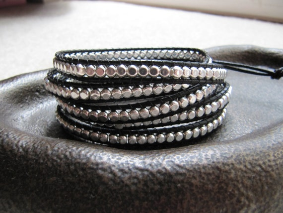 5x Wrap Sterling Silver Rounded Cube Beaded Leather Black Wrap Bracelet