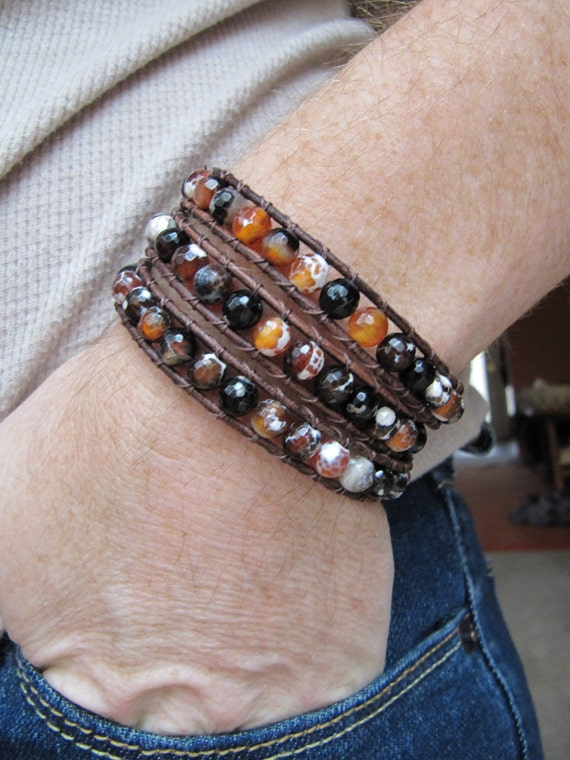 Triple Beaded Leather Wrap Bracelet with Faceted Fire Crackle Agate