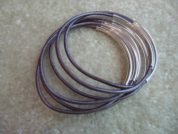 Metallic Purple Berry Leather Bangles with Silver  - Set of 6