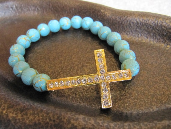 Gold Crystal Side Cross Bracelet with Turquoise Beads with Crackled Gold