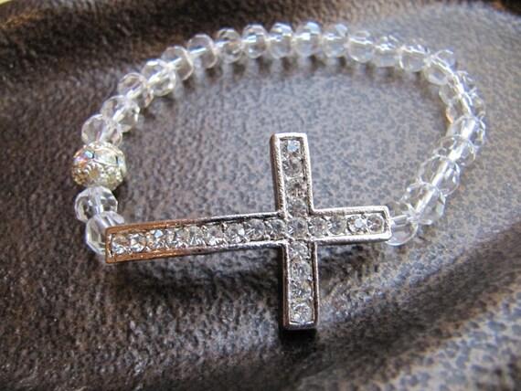Crystal Sideways Cross Bracelet with Clear Crystal Beads