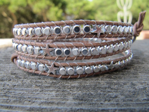 Sterling Silver Triple Natural Beaded Leather Wrap Bracelet with Stars