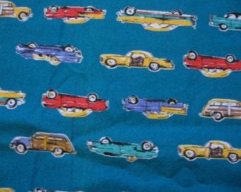 Vintage car print fabric, turquoise
