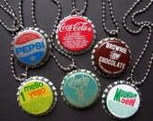 1 Vintage Bottle Cap Necklace (Custom Made) Choice OVER 2 dozen Bottle Caps - FREE Bottle Cap Zipper Pull Charm & Gift Wrap