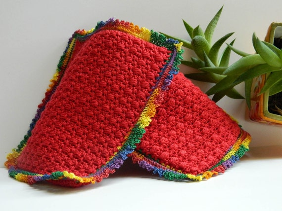 Red Crocheted Hot Pads, / Pot Holders - Set of Two - 15017