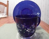 Cobalt Blue Painted Glass cup and saucer-  305