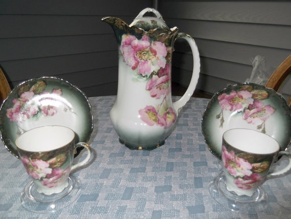 Handpainted Rosenthal Bavaria Malmaison shape Chocolate Pot & two teacups and saucers-Circa 1898-1906