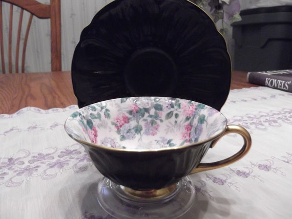 RESERVED for SYL:  Hydrangea Chintz and Black Oleander shape Shelley cup and saucer circa 1945-1966-  DR