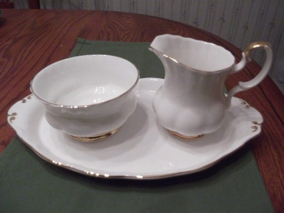RESERVED for Julie Fowler- Cream and sugar with tray: 3 pc Royal Albert Val D'or with gold rims circa 1945-present